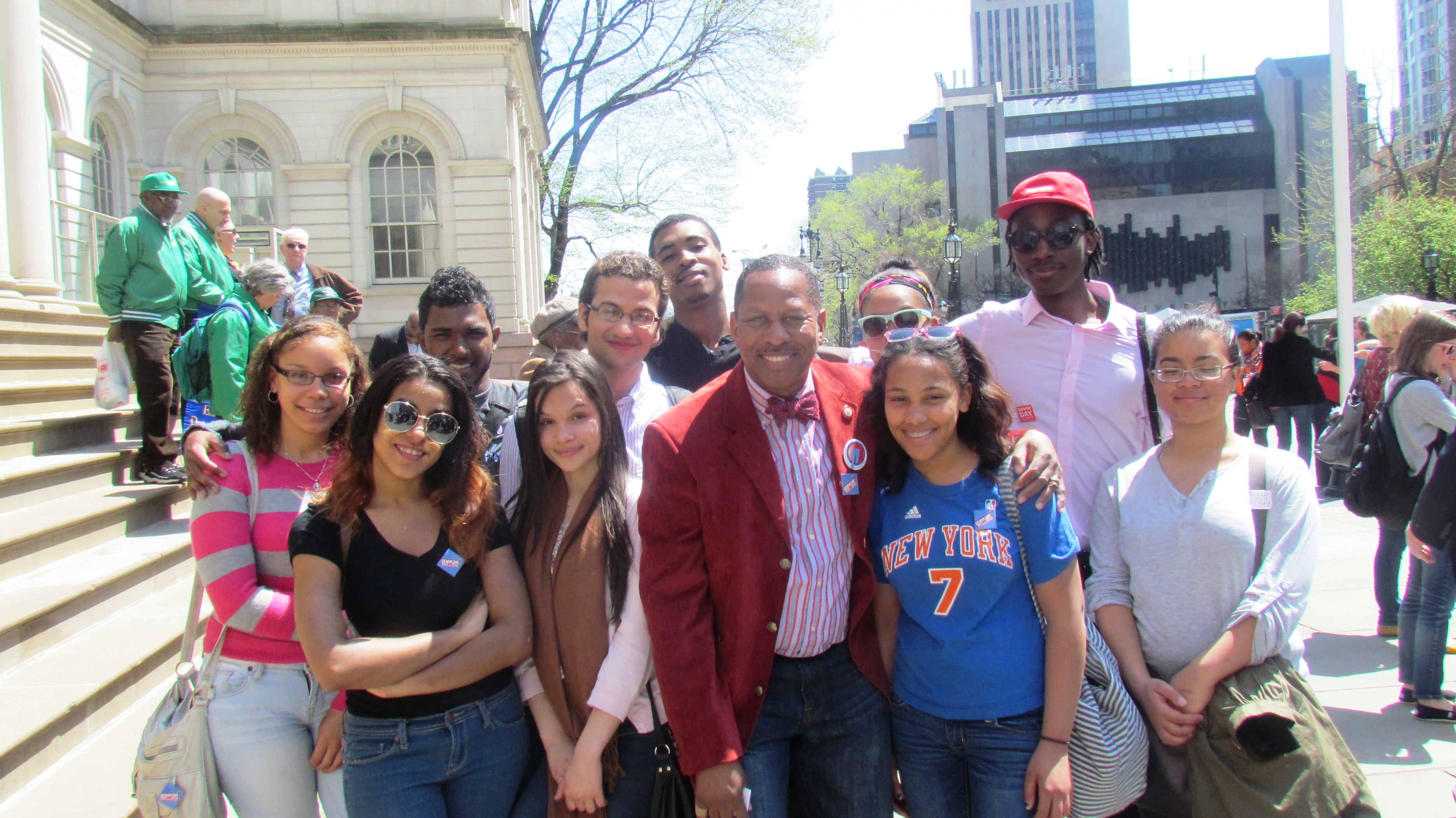 Council member andy king at city hall for the denim day nyc rally