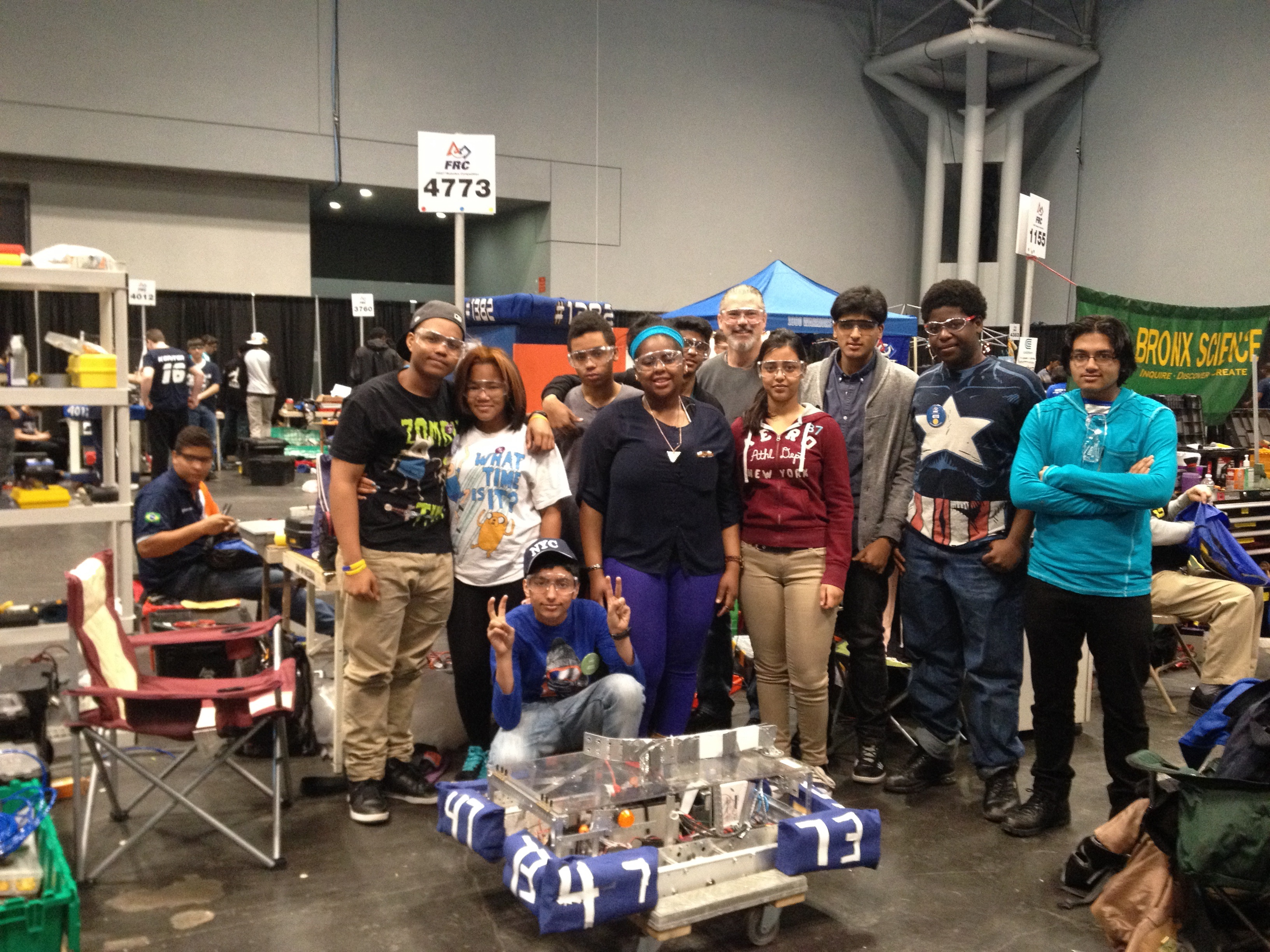 Robotics Team members with mentor Mr. Chadwick at Javits Center.  April 3-6 2014