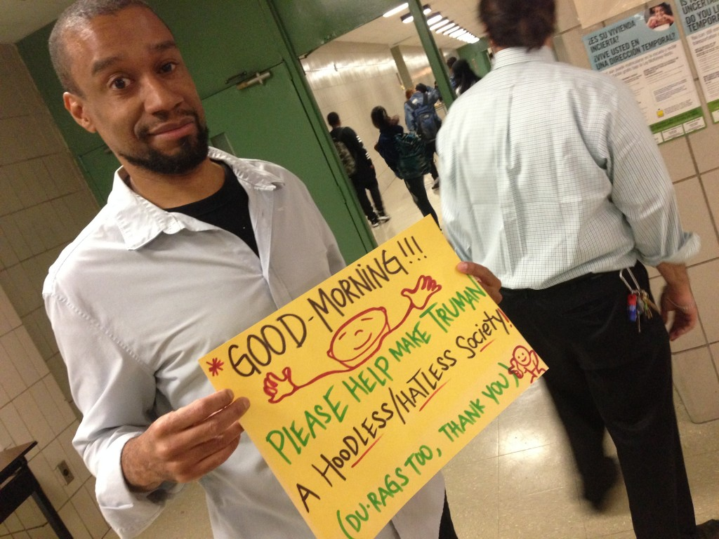 Mr. Lewis greets students with his comical signs each morning during 2nd period.