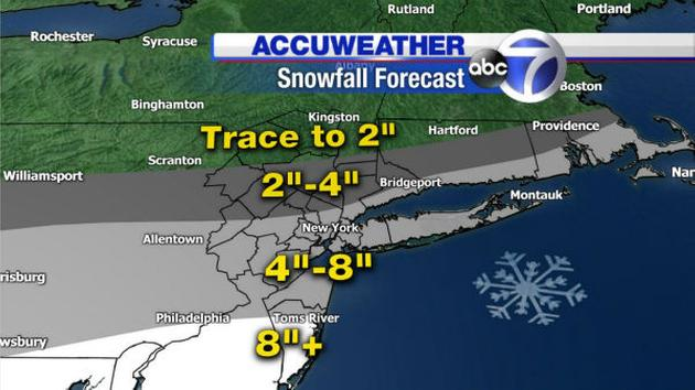 Snowfall prediction map, courtesy of 7 Online.