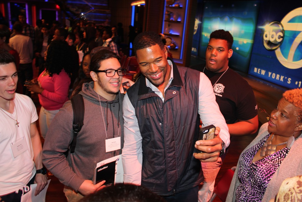 "NFL Hall-of-Famer and TV show host Michael Strahan even took a few minutes to pose for a ""selfie"" with Truman senior Joel Quiles at the Get Reel With Your Dreams event in Manhattan."