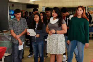 Students recited a group poem during the Hispanic Heritage Month Celebration.