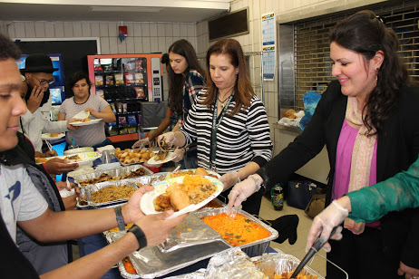 Students enjoy some of the hispanic food as part of Truman's Hispanic Heritage Month celebration.