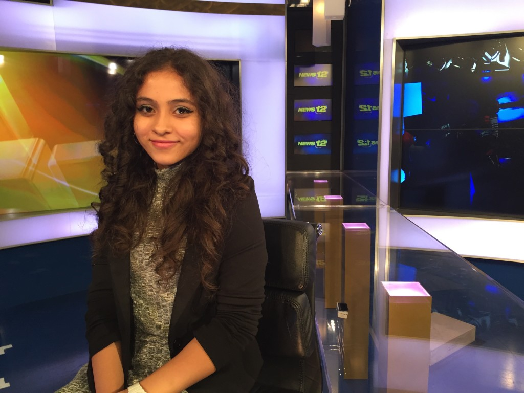 Sophomore Christina Martinez got to try her hand at anchoring during the trip to News 12 on November 11th.