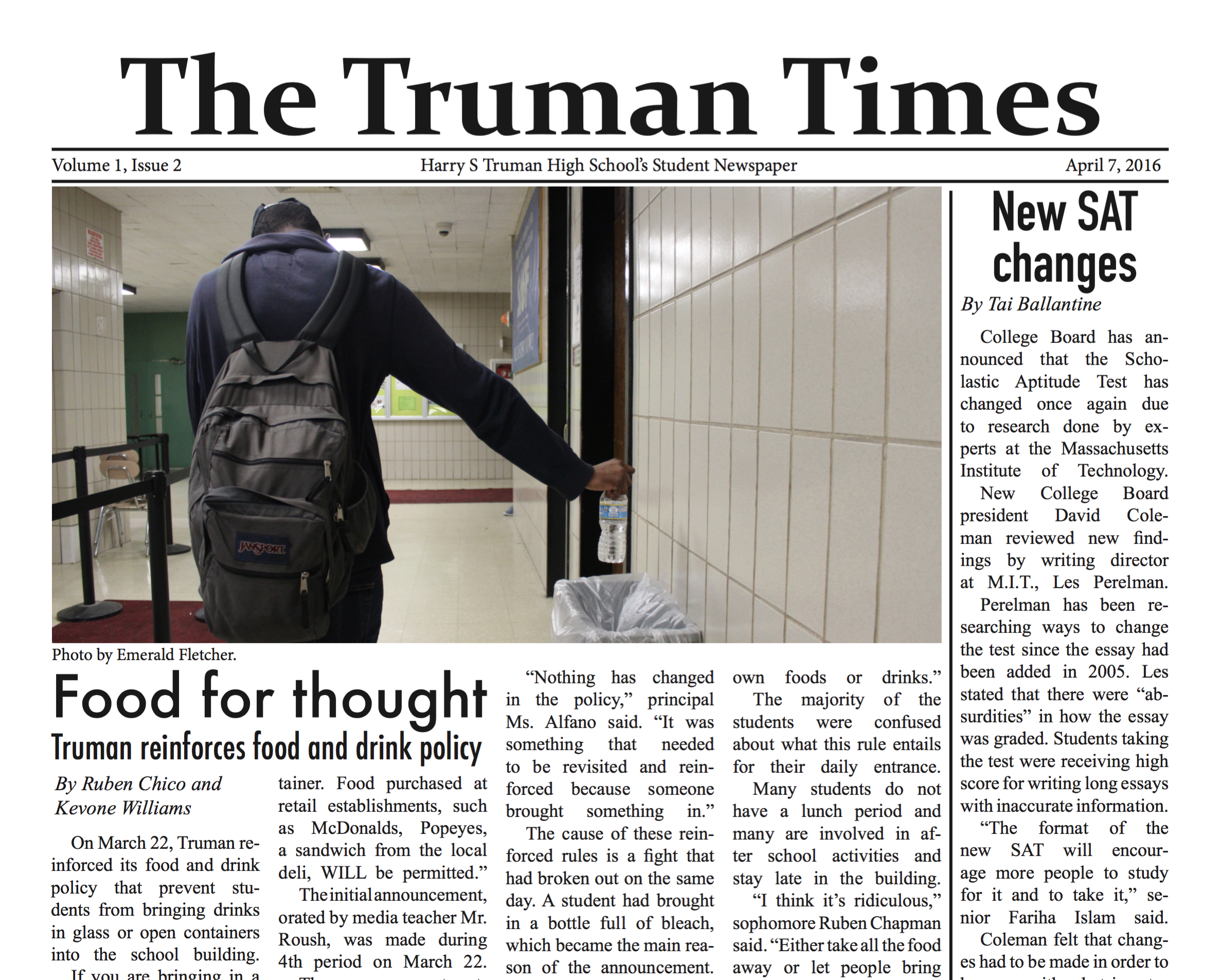 Truman Times Front Page