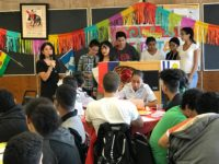 Ms. Williams speaks to a group of students at the Hispanic Heritage Month Program. (Photo by Ebenezer Aboagye)