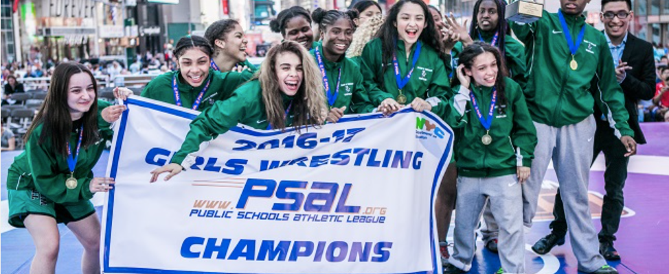 Girls Wrestling Dominates Under Bright Lights of Times Square