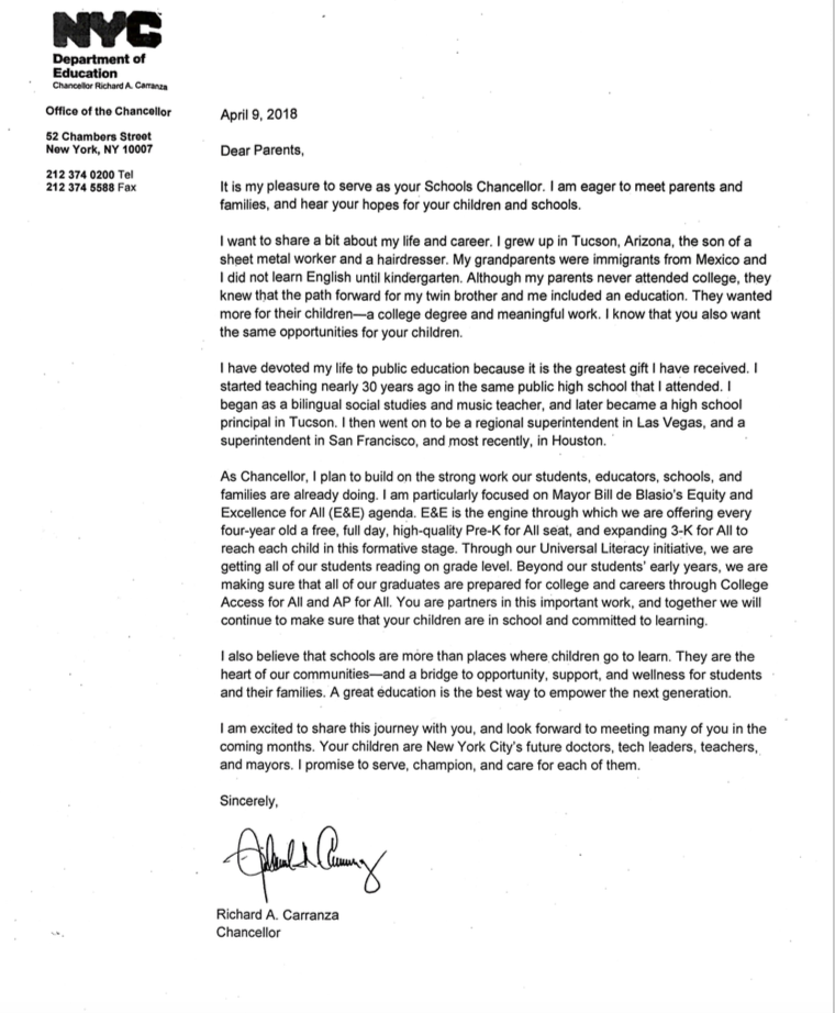 Welcome letter from new chancellor harry s truman high school new york ny nyc dept of education chancellor richard carranza published a letter to all parents please take a moment to read it altavistaventures Images