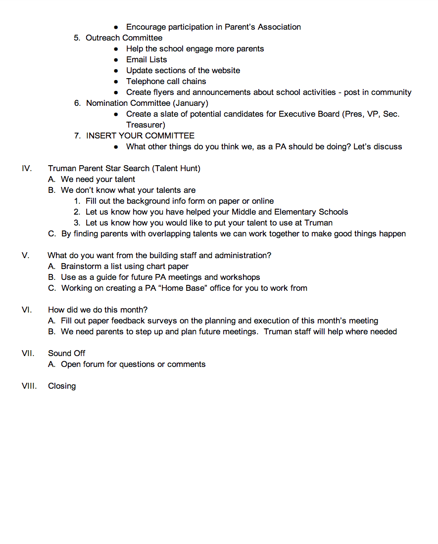 October Parent S Association Meeting Agenda Harry S