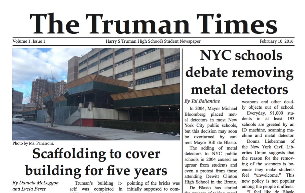 Truman Revives Print Edition Of School Newspaper Harry